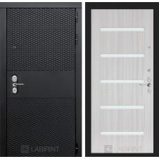 Входная дверь Лабиринт BLACK - 01 - Сандал белый, стекло белое