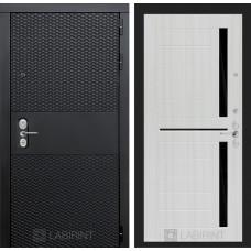 Входная дверь Лабиринт BLACK - 02 - Сандал белый, стекло черное
