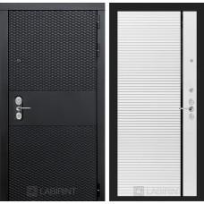 Входная дверь Лабиринт BLACK - 22 - Белый софт (черная вставка)