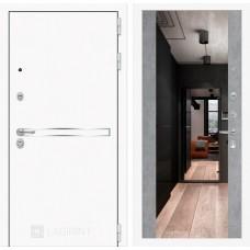Входная дверь Лабиринт Лайн WHITE с широким зеркалом - Бетон светлый