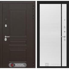 Входная дверь Лабиринт Мегаполис 22 - Белый софт, черная вставка
