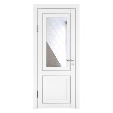 Классические двери, цвет: DO-PG-2 (Белый бархат, зеркало ромб фацет)