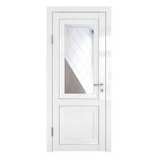 Классические двери, цвет: DO-PG-2 (Белый глянец, зеркало ромб фацет)