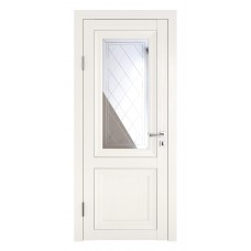 Классические двери, цвет: DO-PG-2 (Белый ясень, зеркало ромб фацет)