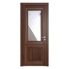 Классические двери, цвет: DO-PG-2 (Орех тисненый, зеркало ромб фацет)