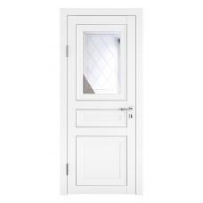Классические двери, цвет: DO-PG-4 (Белый бархат, зеркало ромб фацет)