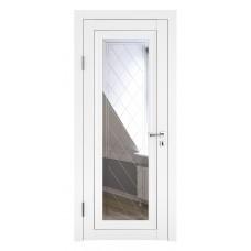 Классические двери, цвет: DO-PG-6 (Белый бархат, зеркало ромб фацет)