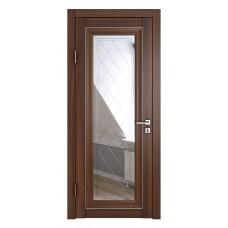 Классические двери, цвет: DO-PG-6 (Орех тисненый, зеркало ромб фацет)