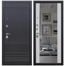 Входная стальная дверь АСД «ДУЭТ с зеркалом» Белая лиственница