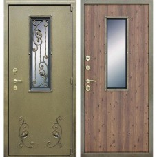 Входная стальная дверь АСД с окном и ковкой Дуб старый