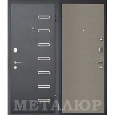 Входная металлическая дверь МеталЮр М29 (Черный бархат / Дуб французский серый)