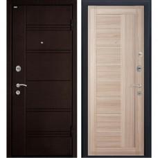 Входная металлическая дверь МеталЮр М17 (Тёмная ива / Капучино мелинга)