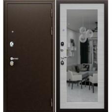 Входная стальная дверь АСД Спартак с зеркалом Акация светлая поперечная