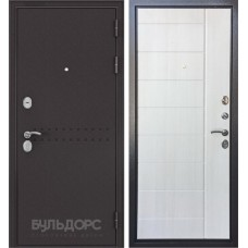 Двери Бульдорс Комбат Букле шоколад R-4, Ларче бьянко V-9
