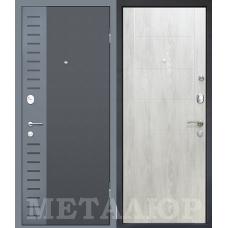 Входная металлическая дверь МеталЮр М28 (Черный бархат / Дуб шале снежный)