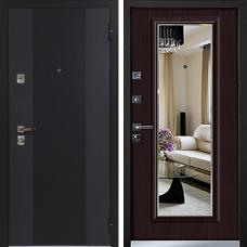 Двери Бульдорс 44 T NEW Черный шелк / Ларче Темный T-5 (зеркало)