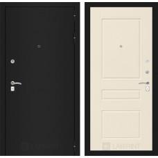 Входная дверь Лабиринт CLASSIC шагрень черная 03 - Крем софт