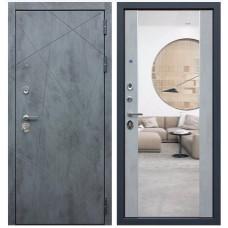 Входная стальная дверь АСД «ДУЭТ Б с зеркалом» Бетон светлый