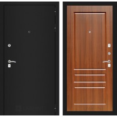 Входная дверь Лабиринт CLASSIC шагрень черная 03 - Орех бренди