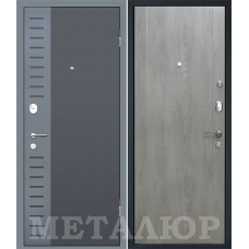 Входная металлическая дверь МеталЮр М28 (Черный бархат / Дуб шале седой)