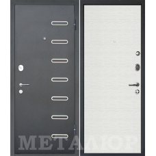 Входная металлическая дверь МеталЮр М29 (Черный бархат / Дуб французский сильвер)