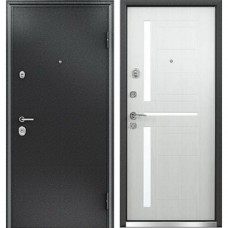 Двери Бульдорс NEW 24 Черный шелк / Дуб Беленый E-2 (стекло)