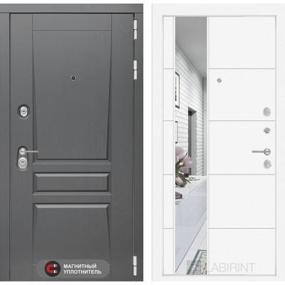 Входная дверь Лабиринт Платинум с Зеркалом 19 - Белый софт