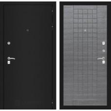 Входная дверь Лабиринт CLASSIC шагрень черная 09 - Лен сильвер грей