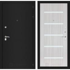 Входная дверь Лабиринт CLASSIC шагрень черная 01 - Сандал белый