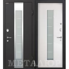 Входная металлическая дверь МеталЮр М35 (Черный бархат / Белый малибу)