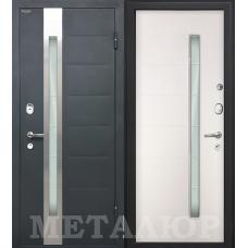 Входная металлическая дверь МеталЮр М36 (Серый металлик / Белый малибу)
