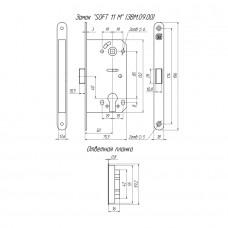 Замок межкомнатный магнитный под цилиндр Soft 11М NI, никель /128:5404/