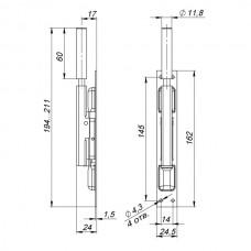 Задвижка торцевая TDB set 160-24 в комплекте с ригелем 80 мм