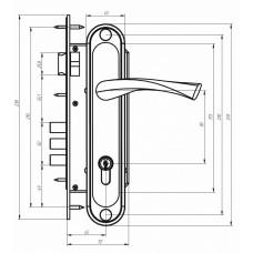 Ручка дверная на планке РФ1-85.02 (85 мм) медь