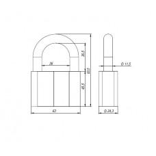 Замок навесной PD-40-70, фин. 3кл., коробка